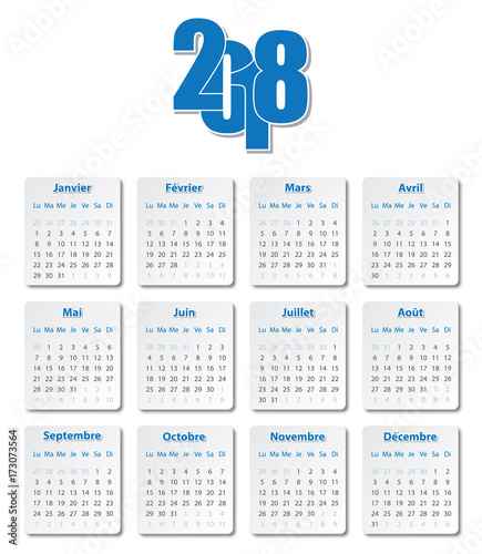 Calendrier Bleu.Calendrier 2018 Bleu Stock Image And Royalty Free Vector