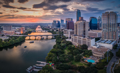 Aluminium Prints Texas Downtown Austin, Texas during sunset