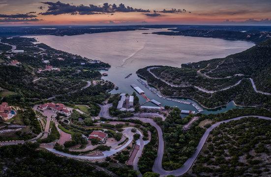 Lake Travis in Austin, Texas at sunset