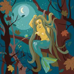 mermaid on a tree