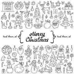 Vector set with hand drawn isolated doodles on the  theme of Merry Christmas, Happy New Year on white color. Cartoon symbols of holiday