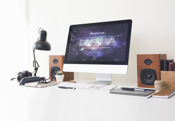 Desktop Computer at an Office Desk Mockup 6