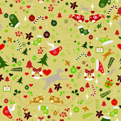 Winter Seamless Pattern. Vector Illustration. Traditional Color Design. Red Background