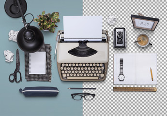 Vintage Typerwriters with Travel and Desk Accessories Mockup 1
