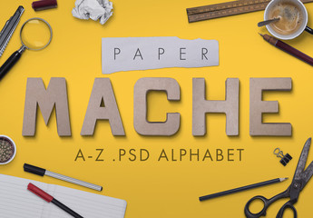Paper Mache Illustrated Alphabet Set