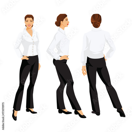 656320714e0b Vector illustration of corporate dress code. Business woman or secretary in  formal clothes. Front view and back view. White blouse, black pants and  shoes ...