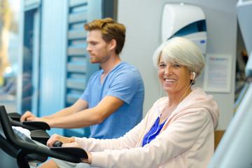 senior woman on the exercise machine