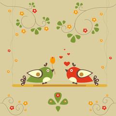 Love Bird Tree. Vector Card for Valentine Day. Vector Illustration