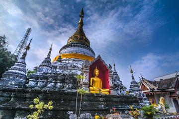 Buddha and pagoda in Chiang Mai, Thailand.