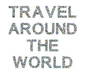 Collage of travel photos and inspirational quote