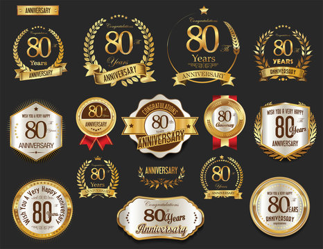 Anniversary golden laurel wreath and badges 80 years vector collection