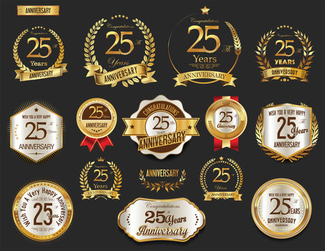 Anniversary golden laurel wreath and badges 25 years vector collection