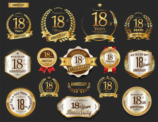 Anniversary golden laurel wreath and badges 18 years vector collection