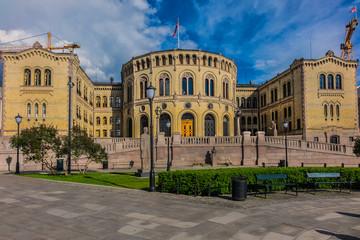 Norwegian Parliament building (Stortinget) in Oslo. Norway.
