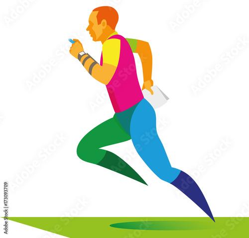 The Redhaired Athlete With Map In The Hand Runs On The Distance Of - Map run distance free