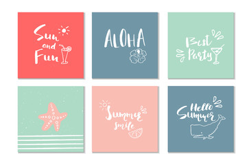 Beautiful summer poster with hand drawn lettering. Template for sail, tropical vacation