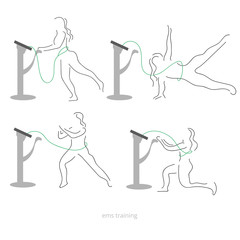 Ems workout stages - poses. Electric muscular stimulating fitness