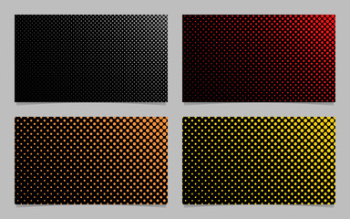 Digital halftone circle pattern business card background design set - vector corporation graphics with colored dots on black background