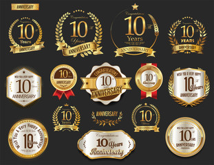Obraz Anniversary golden laurel wreath and badges 10 years vector collection - fototapety do salonu