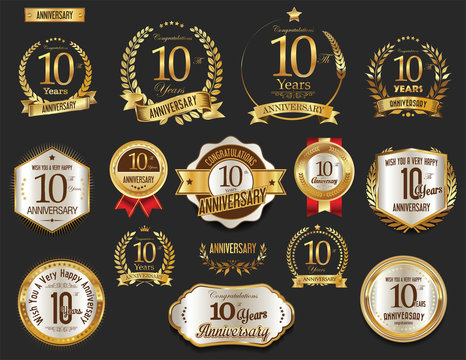 Anniversary golden laurel wreath and badges 10 years vector collection
