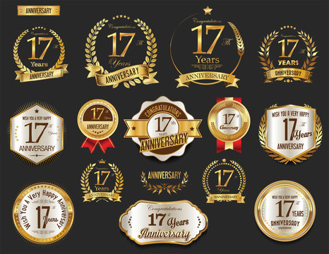 Anniversary golden laurel wreath and badges 17 years vector collection