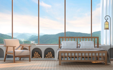Modern bedroom with mountain view 3d rendering image. There are wood floor.Furnished with fabric and wooden furniture. There are large window overlooking the surrounding nature and mountain