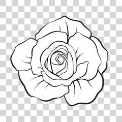 Isolated outline rose flower. Stock vector illustration.