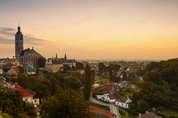 Church of st James and the old town of Kutna Hora.