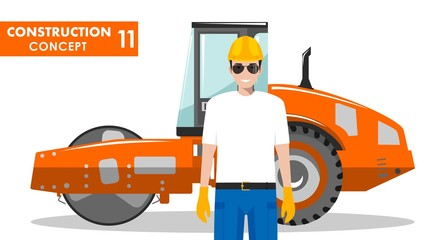 Worker concept. Detailed illustration of workman and compactor in flat style on white background. Heavy construction machine. Vector illustration.