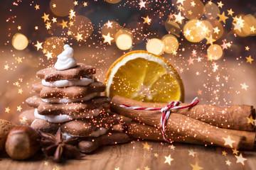 Christmas ginger bread postcard bakery
