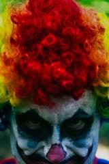 Spooky Clown With Rainbow Hair