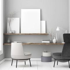 White poster, Scandinavian design concept, 3d illustration