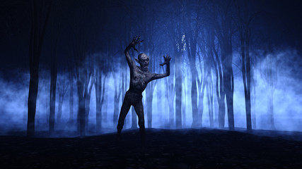 Fototapete - 3D Halloween background of a zombie emerging from a foggy forest