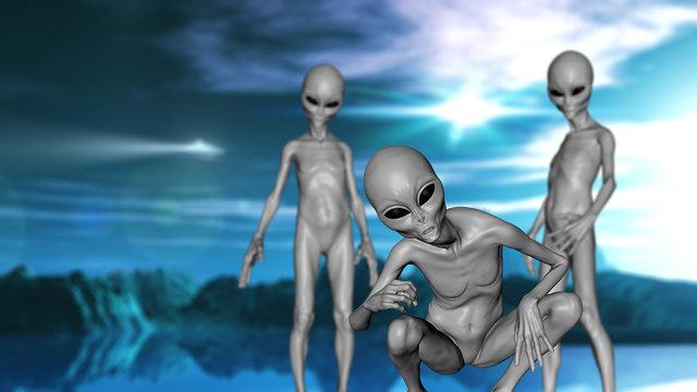 3D science fiction landscape with grey aliens