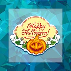 Funky label with Halloween pumpkin