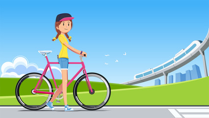 The travel reduced energy consumption by yourself. Green city concept. New generation with the concept of environmental conservation. Walk people and bike.
