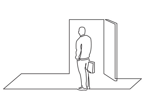 continuous line drawing of business concept - man before open door of opportunity