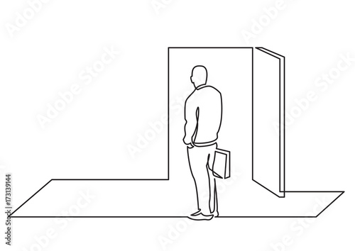 open door drawing. Continuous Line Drawing Of Business Concept - Man Before Open Door Opportunity O