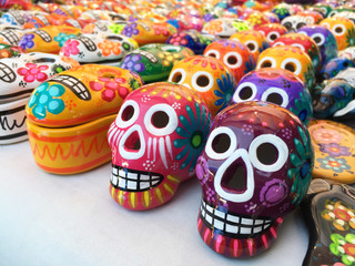 Many mexican colorful skulls