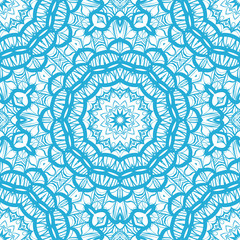 Abstract vector seamless pattern with floral mandala style. blue color. For modern design, wallpaper, textile industry