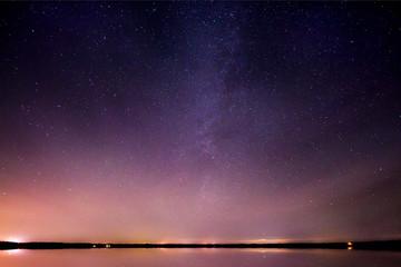 Milky Way Galaxy Reflected on Glass Lake