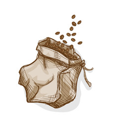 coffee bag hand drawing graphic object