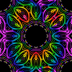 SEAMLESS BACKGROUND. Floral lace geometric ornament. black, rainbow color. vector. for print, fabric, wallpaper
