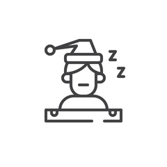 Sleeping person line icon, outline vector sign, linear style pictogram isolated on white. Symbol, logo illustration. Editable stroke