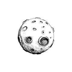 full moon with craters. vector illustration hand draw. line art concept. tattoo design. isolated with white.