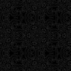 dark monochrome color Art deco Lace pattern with abstract geometric flowers. seamless vector illustration