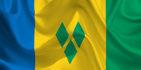 Waving flag of the Saint Vincent and the Grenadines. Flag in the Wind. National mark. Waving Saint Vincent and the Grenadines Flag. Saint Vincent and the Grenadines Flag Flowing.