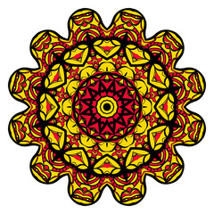 yellow, red, black color flower mandala round ornament design for greeting card, invitation, tattoo. Vector illustration