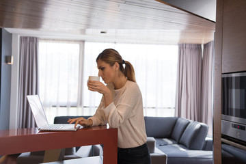 woman drinking coffee enjoying relaxing lifestyle