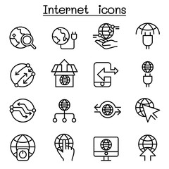 Internet, Connection, Online, Network icon set in thin line style